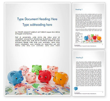 Colorful Piggy Banks Word Template