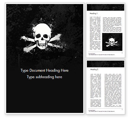 Flags/International: Pirate Flag Zwarte Zeilen Word Template #14728
