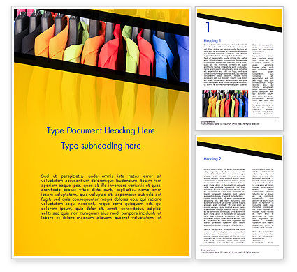 Row of Colorful Shirts in Store Word Template, 14737, Careers/Industry — PoweredTemplate.com