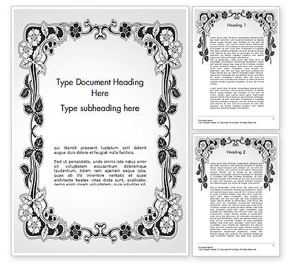 Floral Black and White Border Word Template