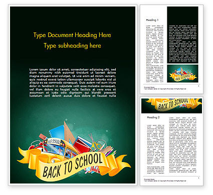 Back to School Theme Word Template, 14751, Education & Training — PoweredTemplate.com