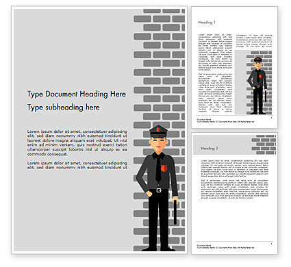 Legal: Security Guard Illustration Word Template #14755