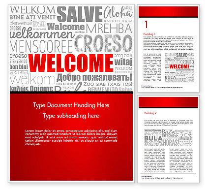 Business Concepts: Welcome Word Cloud in Different Languages Word Template #14773