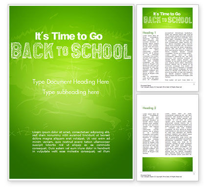 Back to School on Chalkboard Word Template, 14796, Education & Training — PoweredTemplate.com
