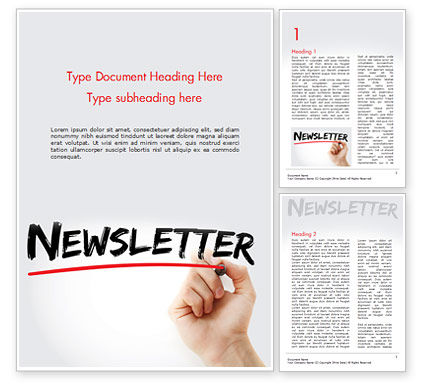 A Hand Writing Newsletter with Marker Word Template