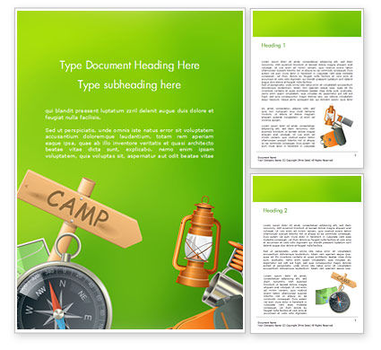 Camping Accessories Word Template, 14804, Careers/Industry — PoweredTemplate.com
