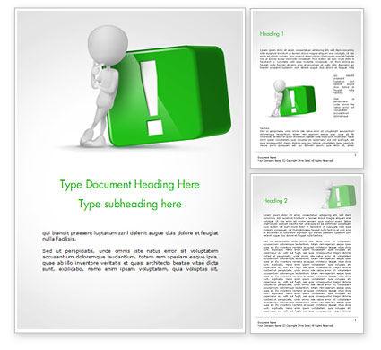 3D: 3d人間と緑の感嘆符キューブ - Wordテンプレート #14814