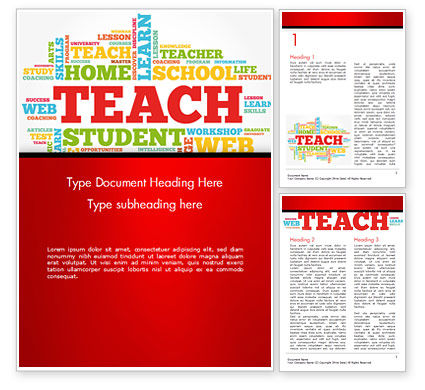 Teach Word Cloud Word Template, 14816, Education & Training — PoweredTemplate.com