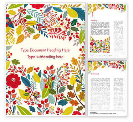 Art & Entertainment: Autumn Bloom Word Template #14826