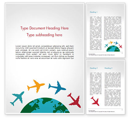 Airplane Travel Concept Word Template, 14836, Global — PoweredTemplate.com