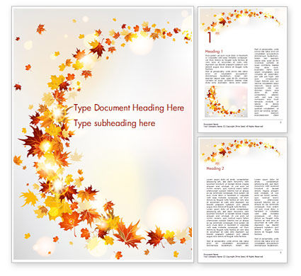 Autumn Leaves and Sunbeams Word Template
