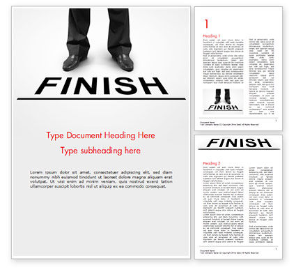 Businessman Standing on Finish Line Word Template