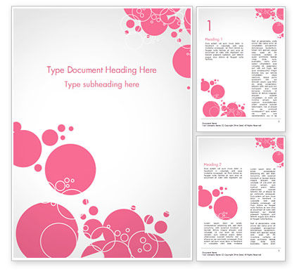 Pink Bubbles and Circles Background Word Template, 14850, Careers/Industry — PoweredTemplate.com