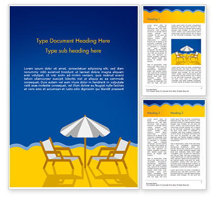 Holiday/Special Occasion: Beach Chairs with Umbrella Illustration Word Template #14852