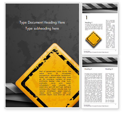 Warning Road Sign Word Template, 14855, Careers/Industry — PoweredTemplate.com