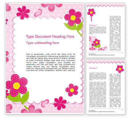 Cute Flowers Frame Word Template, 14866, Holiday/Special Occasion — PoweredTemplate.com
