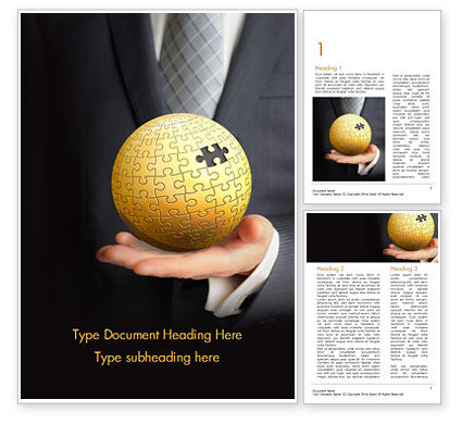 Business Concepts: Business Man Hold a Puzzle Globe Word Template #14872