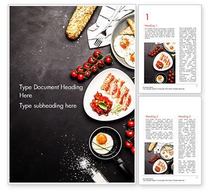 Cooking a Breakfast Word Template, 14874, Food & Beverage — PoweredTemplate.com