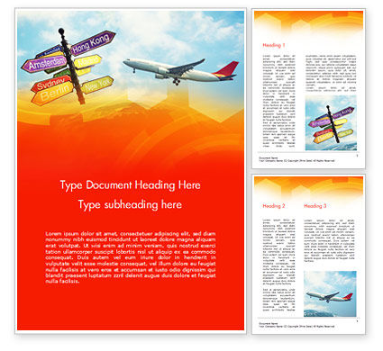 Directional Cities And Airplane in The Sky Word Template, 14888, Careers/Industry — PoweredTemplate.com