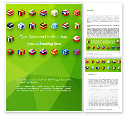 European Flags Concept Word Template, 14891, Flags/International — PoweredTemplate.com