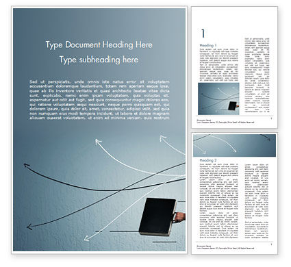 Hand Drawn Thin Arrows and Briefcase Word Template