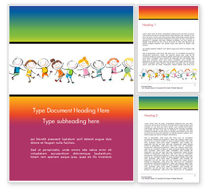 Happy Children's Day Word Template, 14898, Education & Training — PoweredTemplate.com