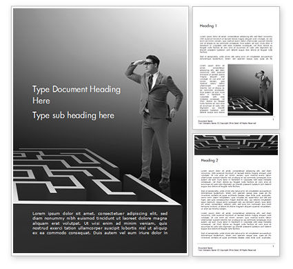 Man Trying to Reach a Result Through Maze Word Template, 14902, Business Concepts — PoweredTemplate.com