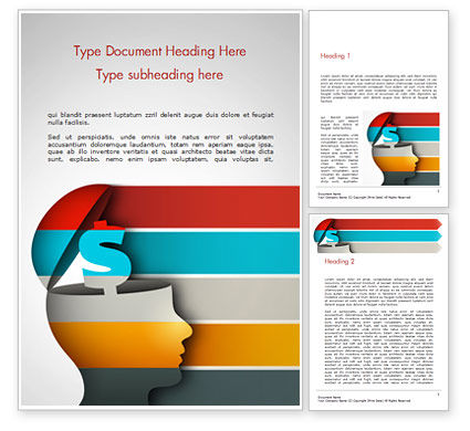Human Opened Head Silhouette with Dollar Symbol Word Template, 14904, 3D — PoweredTemplate.com