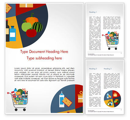 Careers/Industry: Shopping Trolley of Food Word Template #14913
