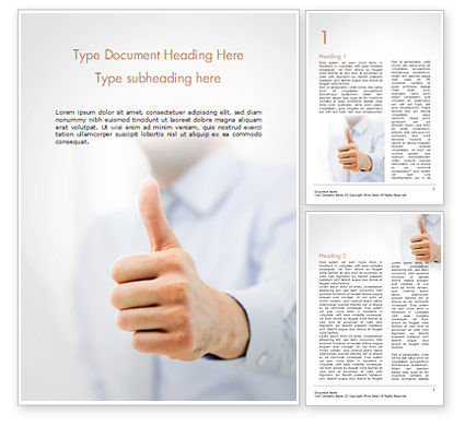 Business Man Shows Thumb Up Word Template, 14915, Business Concepts — PoweredTemplate.com