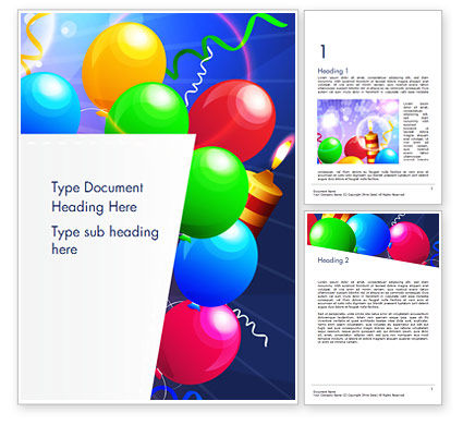 Happy Birthday Card Design Word Template, 14918, Holiday/Special Occasion — PoweredTemplate.com