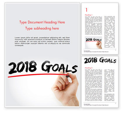 2018 Goals Word Template, 14932, Business Concepts — PoweredTemplate.com