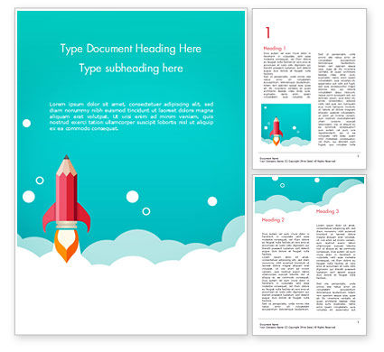 Pencil Rocket Takeoff Word Template, 14933, Business Concepts — PoweredTemplate.com