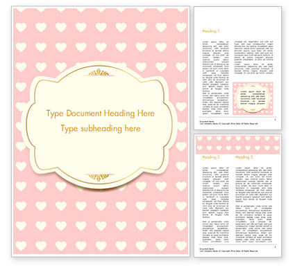 Label Frame on Hearts Background Word Template, 14934, Holiday/Special Occasion — PoweredTemplate.com