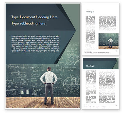 Education & Training: Man Looking at the Chalkboard with Formulas Word Template #14938