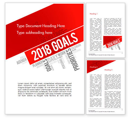 Business Concepts: 2018 Goals Word Cloud Word Template #14941