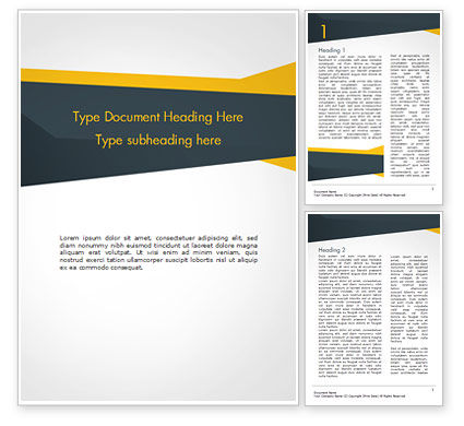 Yellow and Dark Grey Abstract Word Template, 14967, 3D — PoweredTemplate.com
