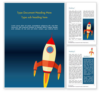Cartoon Flying Rocket Word Template, 14970, Business Concepts — PoweredTemplate.com