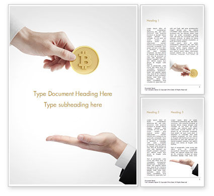 Business: Hand Giving Bitcoin Word Template #14973