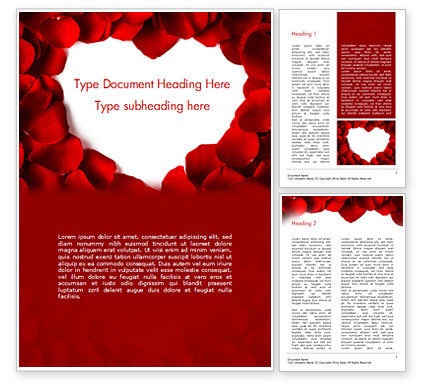 Holiday/Special Occasion: Beautiful Heart of Red Rose Petals Word Template #14975