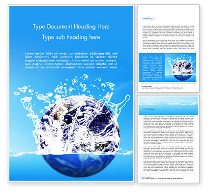 Nature & Environment: Earth in Water Splash Word Template #14982