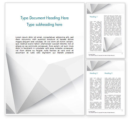 Abstract/Textures: Witte Veelhoekige Geometrische Achtergrond Word Template #15006