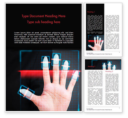 Fingerprint Scanning Word Template, 15008, Technology, Science & Computers — PoweredTemplate.com