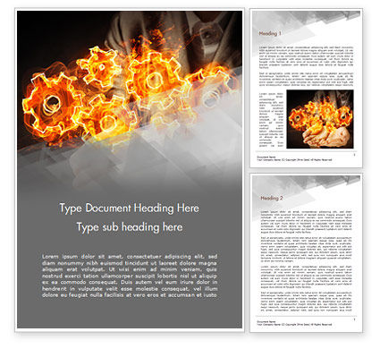Business Concepts: Man with Fire Gears Word Template #15014