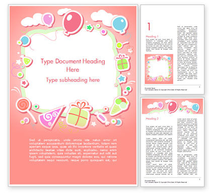 Cute Girl Birthday Background Word Template, 15016, Holiday/Special Occasion — PoweredTemplate.com