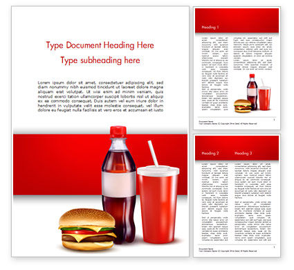 Fast Food Menu Word Template, 15018, Food & Beverage — PoweredTemplate.com