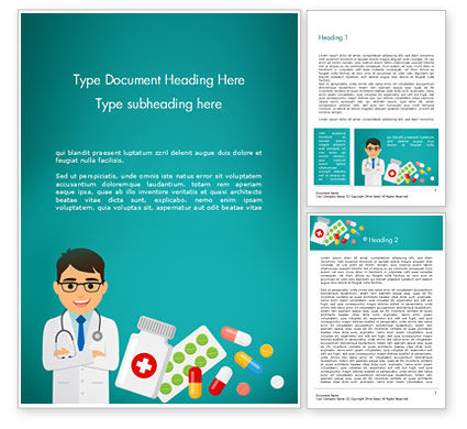 Doctor with Medicines Word Template, 15021, Medical — PoweredTemplate.com