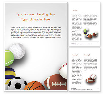 Different Sport Balls Word Template, 15023, Sports — PoweredTemplate.com