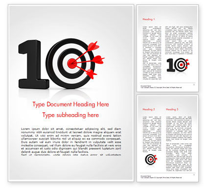 Business Concepts: 10 with Dartboard Word Template #15025