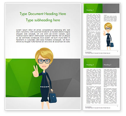 Businesswoman Showing Victory Sign Word Template, 15027, Business Concepts — PoweredTemplate.com